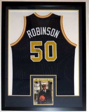 David Robinson Signed U.S. Navy Jersey - PSA DNA COA Authenticated - Professionally Framed & 8x10 Photo 34x42