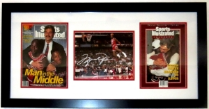 Michael Jordan Signed 1988 Slam Dunk Contest 8x10 Photo Compilation - UDA COA Upper Deck Authenticated - Professionally Framed 34x16