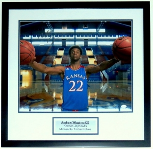 Andrew Wiggins Kansas Jayhawks 16x20 Photo - JSA COA Authenticated - Professionally Framed & Plate