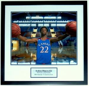 Andrew Wiggins Kansas Jayhawks 16x20 Photo - JSA COA Authenticated - Professionally Framed & Plate