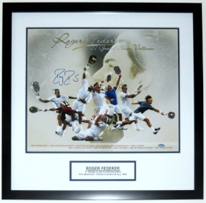 Roger Federer Signed Career Achievement 16x20 Photo  - Steiner Sports COA Authenticated - Professionally Framed