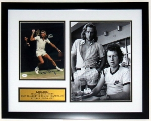 Bjorn Borg with John McEnroe Signed 8x10 & 12x18 Photo Compilation - JSA COA Authenticated - Professionally Framed & Plate