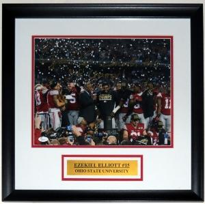 Ezekiel Elliott Signed 11x14 Photo - JSA COA Authenticated - Professionally Framed & Plate