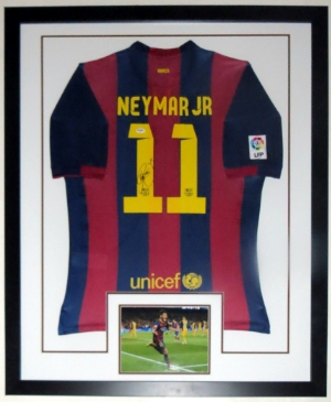 Neymar Jr. Signed Barcelona Jersey - PSA DNA COA Authenticated - Professionally Framed & 8x10 Photo 32x42
