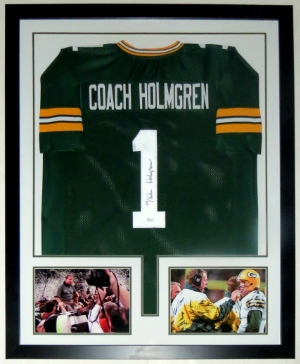 Mike Holmgren Signed Green Bay Packers Jersey - JSA COA Authenticated - Professionally Framed & 2 8x10 Photo - 32x42