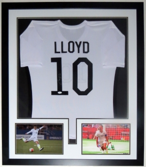 Carli Lloyd Signed Team USA Jersey - JSA COA Authenticated - Professionally Framed & 2 8x10 Photo 32x42