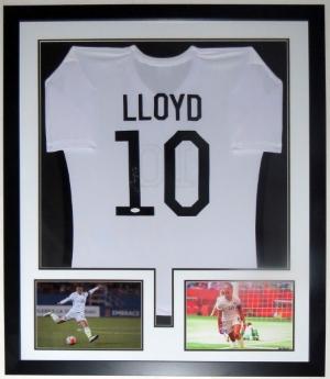 Carli Lloyd Signed Team USA Jersey - JSA COA Authenticated - Professionally Framed & 2 8x10 Photo 32x42