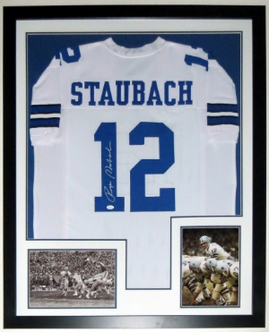 Roger Staubach Signed Colts Jersey - JSA COA Authenticated - Professionally Framed & 2 8x10 Photo - 32x42