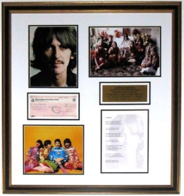 George Harrison Signed Check and Beatles Photo Compilation - PSA DNA COA Authenticated - Professionally Framed 32x32