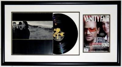 Bono Signed U2 Joshua Tree Album & Photo Compilation - PSA DNA COA Authenticated - Professionally Framed 34x16