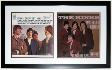 The Kinks Group Signed Greatest Hits Album Compilation - PSA DNA COA Authenticated - Professionally Framed 30x18