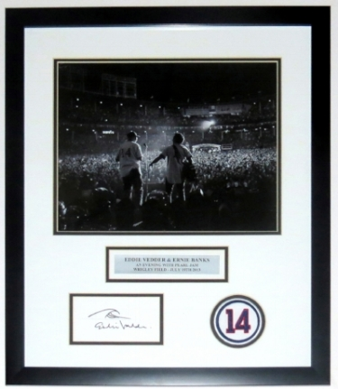 Eddie Vedder with Ernie Banks Signed Pearl Jam Wrigley Field Photo Compilation - BSI Authenticated - Professionally Framed 28x16