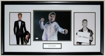 Justin Bieber Signed Photo Compilation - JSA Authenticated - Professionally Framed 38x16
