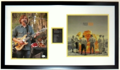 Trey Anastasio Signed Phish Photo and Album Compilation - JSA Authenticated - Professionally Framed 34x18