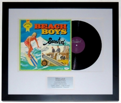 Mike Love Signed Beach Boys Surfin Album and Record Compilation - PSA DNA COA Authenticated - Professionally Framed 28x22