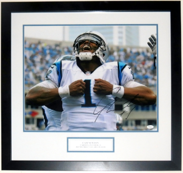 Cam Newton Signed Carolina Panthers 16x20 Photo - JSA COA Authenticated - Professionally Framed & Plate