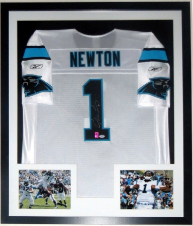 Cam Newton Signed Reebok Carolina Panthers Jersey - PSA DNA COA Authenticated - Professionally Framed & 2 8x10 Photos