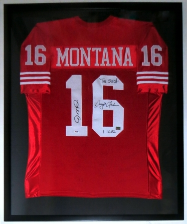 Joe Montana & Dwight Clark Signed San Francisco 49'ers Jersey - PSA DNA COA Authenticated - Professionally Framed 32x42