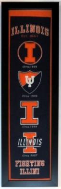 Illinois Fighting Illini Heritage Logo Banner - Professionally Framed