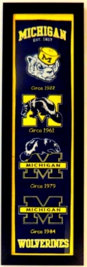 Michigan Wolverines Heritage Logo Banner - Professionally Framed