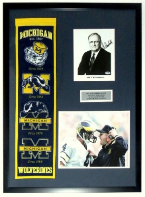 Bo Schembechler Signed Michigan Wolverines Photo Compilation and Banner Set - PSA DNA COA Authenticated - Professionally Framed 28x40