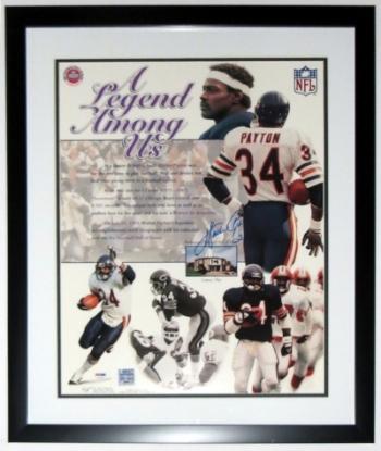 Walter Payton Signed Chicago Bears 16x20 Photo - PSA DNA COA Authenticated - Professionally Framed