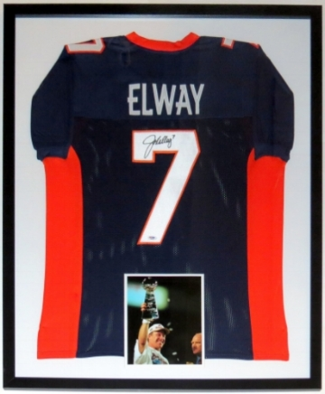 John Elway Signed Denver Broncos Jersey - PSA DNA COA Authenticated - Professionally Framed & 8x10 Photo - 32x42
