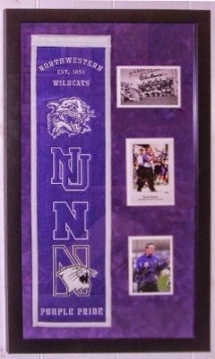 Northwestern Wildcats Signed Head Coaches Photo & Heritage Logo Banner Compilation - BSI COA Authenticated - Professionally Framed 20x36