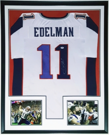 Julian Edelman Signed New England Patriots Jersey - PSA DNA COA Authenticated - Professionally Framed & 2 8x10 Photo - 32x42