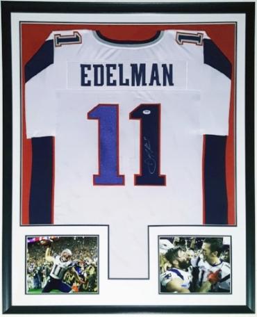 Julian Edelman Signed New England Patriots Jersey - PSA DNA COA Authenticated - Professionally Framed & 2 8x10 Photo - 32x42