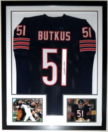 Dick Butkus Signed Chicago Bears Jersey - PSA DNA COA Authenticated - Professionally Framed & 2 8x10 Photo - 32x42