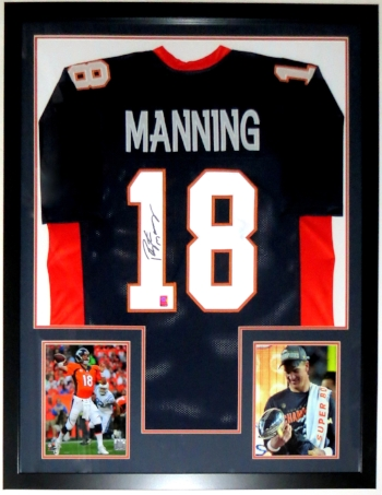 Peyton Manning Signed Denver Broncos Jersey - Manning COA Authenticated - Professionally Framed & 2 8x10 Photo - 32x42