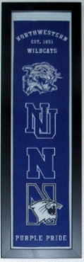 Northwestern Wildcats Heritage Logo Banner - Professionally Framed