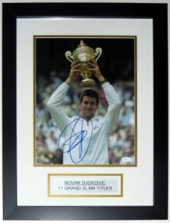 Novak Djokovic Signed Wimbledon 11x14 Photo - JSA COA Authenticated - Professionally Framed & Plate