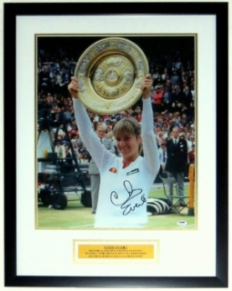 Chris Evert Signed Wimbledon 16x20 Photo - PSA DNA COA Authenticated - Professionally Framed & Plate