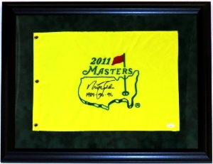 Nick Faldo Signed Masters Pin Flag - JSA COA Authenticated - Professionally Framed