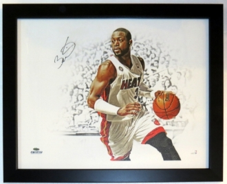 Dwyane Wade Autographed Miami Heat 18x24 Photo Canvas - Steiner Sports COA Authenticated - Professionally Framed
