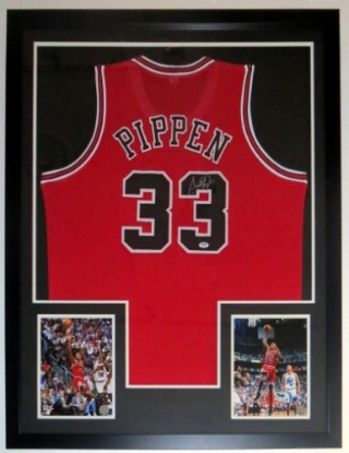 Scottie Pippen Signed Chicago Bulls Jersey - PSA DNA COA Authenticated - Professionally Framed & 2 8x10 Photo 34x42