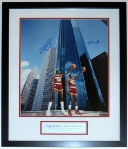Hakeem Olajuwon & Ralph Sampson Dual Signed Houston Rocket 16x20 Photo - Steiner Sports COA Authenticated - Custom Framed & Plate