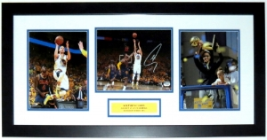 Stephen Curry Signed Golden St. Warriors 8x10 Photo Set - Fanatics COA Authenticated - Professionally Framed & Plate 34x16