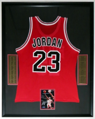 Michael Jordan SIgned 5x7 Photo & Champion Chicago Bulls Jersey - UDA COA Upper Deck Authenticated - Professionally Framed 34x42