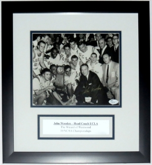 John Wooden Signed UCLA Bruins 8x10 - JSA COA Authenticated -Professionally Framed & Plate