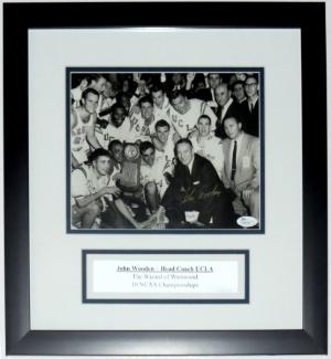 John Wooden Signed UCLA Bruins 8x10 - JSA COA Authenticated -Professionally Framed & Plate
