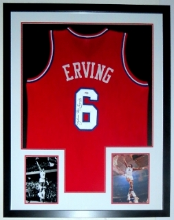 Julius Erving Dr. J. Autographed Philadelphia 76'ers Jersey - PSA DNA COA Authenticated - Custom Framed & 2 8x10 Photo 34x42