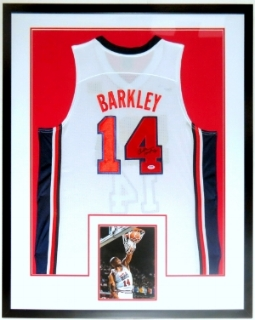 Charles Barkley Signed Nike Team USA Jersey - PSA DNA COA Authenticated - Professionally Framed & 8x10 Photo 34x42