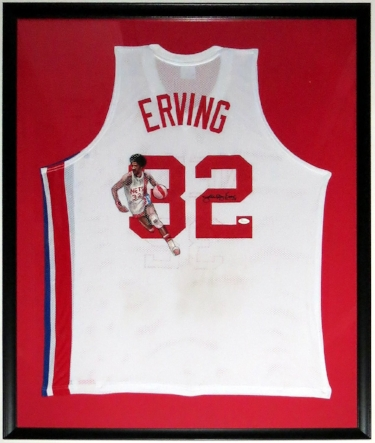 Julius Erving Dr.J. Signed and Painted Nets Jersey - JSA COA Authenticated - Professionally Framed 34x42
