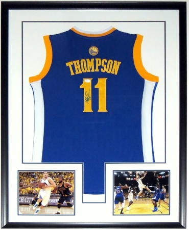 Klay Thompson Signed Golden State Warriors Jersey - JSA COA Authenticated - Professionally Framed & 2 Golden State Warriors 8x10 Photos 34x42