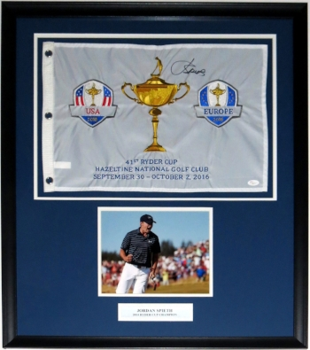 Jordan Spieth Signed Ryder Cup Pin Flag - JSA COA Authenticated - Professionally Framed with 8x10 Photo & Plate -32x32