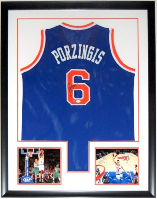 Kristaps Porzingis Signed New York Knicks Jersey - JSA COA Authenticated - Custom Framed &2 8x10 Photo 34x42