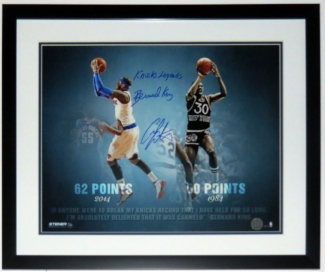 Bernard King and Carmelo Anthony Dual Signed New York Knicks 16x20 Photo - Steiner Sports COA Authenticated - Professionally Framed